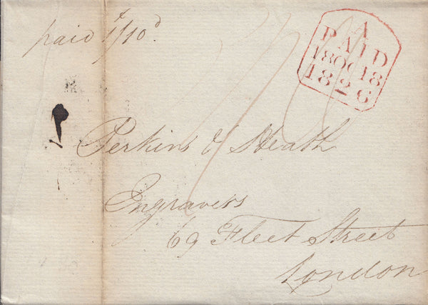 "102649 - 1826 MAIL FROM EXETER ADDRESSED TO ""PERKINS AND HEATH""."