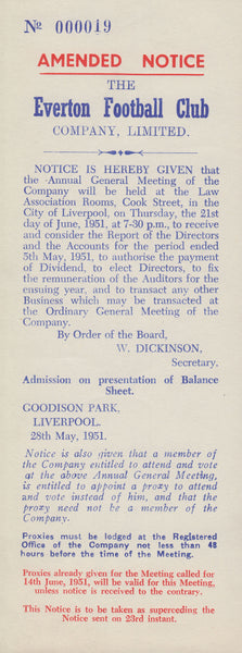 102716 - 1951 UNDELIVERED MAIL/EVERTON FOOTBALL CLUB.