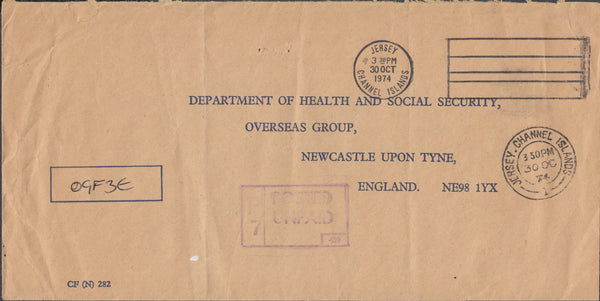 102717 - 1974 UNPAID MAIL JERSEY TO NEWCASTLE UPON TYNE.