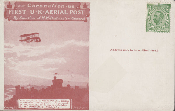 102749 - 1911 FIRST OFFICIAL U.K. AERIAL POST/UNUSED LONDON POST CARD IN RED-BROWN.