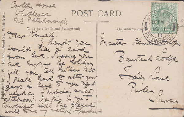 102769 - 1911 WHITTLESEY PHOTOGRAPHIC POST CARD.
