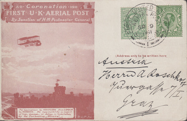 102811 - 1911 FIRST OFFICIAL U.K. AERIAL POST/LONDON RED-BROWN POST CARD ADDRESSED TO AUSTRIA.