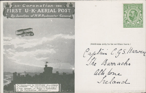 102819 - 1911 FIRST OFFICIAL U.K. AERIAL POST/LONDON POST CARD IN OLIVE-GREEN ADDRESSED TO IRELAND.