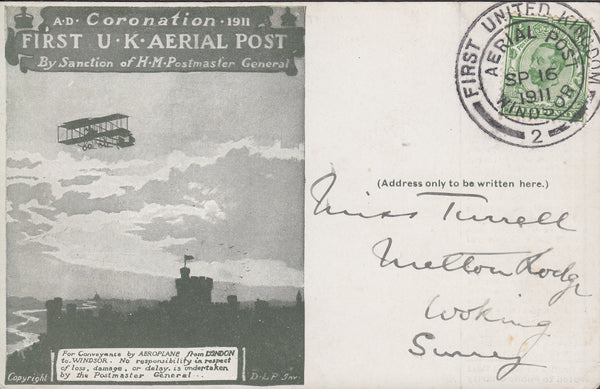 102830 - 1911 FIRST OFFICIAL U.K. AERIAL POST/THE LONDON POST CARD IN OLIVE-GREEN USED FROM WINDSOR.