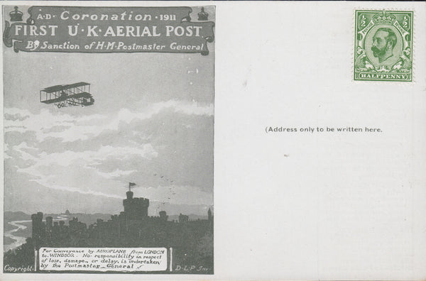 102833 - FIRST OFFICIAL U.K. AERIAL POST/UNUSED LONDON POST CARD IN OLIVE-GREEN.