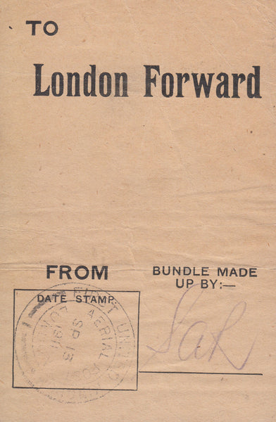 "102844 - 1911 FIRST OFFICIAL U.K. AERIAL POST/""LONDON FORWARD"" PRINTED BUNDLE LABEL."
