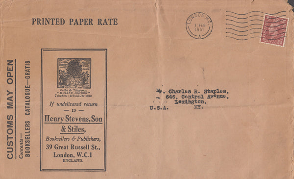 102918 - 1951 PRINTED PAPER RATE LONDON TO USA.