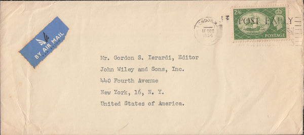 102920 - 1954 MAIL LONDON TO USA/2/6 YELLOW-GREEN (SG509).