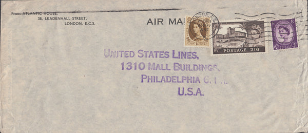 102921 - 1957 MAIL LONDON TO USA/2/6 CASTLE.