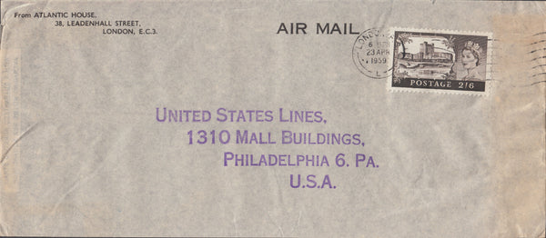 102923 - 1959 MAIL LONDON TO USA/2/6 CASTLE.