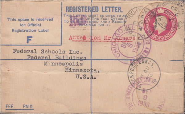 102929 - 1933 REGISTERED MAIL BLACKPOOL TO USA.