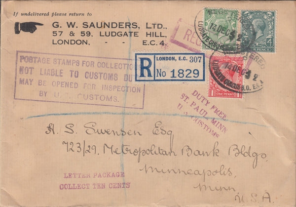 102935 - 1932 REGISTERED MAIL LONDON TO USA/STAMP DEALERS.
