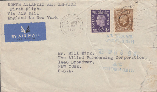 102938 - 1939 MAIL LONDON TO NEW YORK.