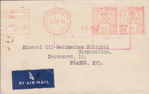 103072 - 1948 MAIL/METER MARK LIVERPOOL TO PRAGUE.