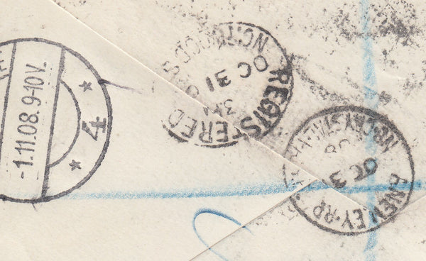 103112 - 1908 REGISTERED MAIL NORWOOD TO THE HAGUE.