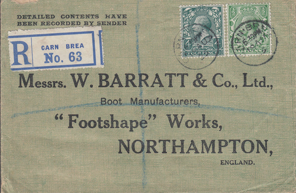 103119 - 1925 REGISTERED MAIL CARN BREA (CORNWALL) TO NORTHAMPTON.