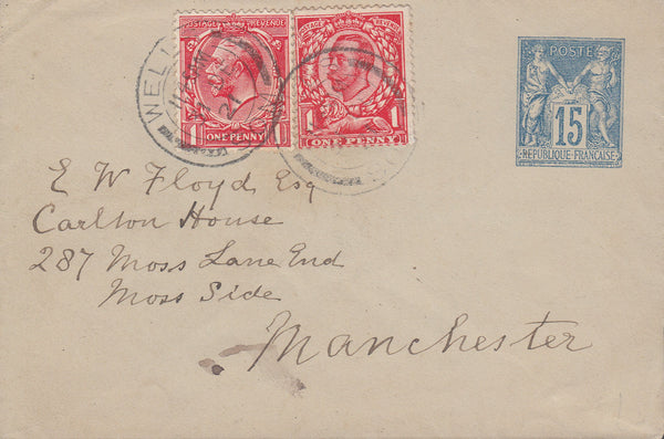 103134 - 1921 ENVELOPE WELLS/SOM. TO MANCHESTER WITH COMBINATION OF FRENCH AND GB ISSUES.