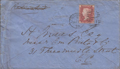 103173 - 1879 MAIL FRANKFURT TO LONDON RE-DIRECTED WITH 1D (SG43) ON REVERSE.
