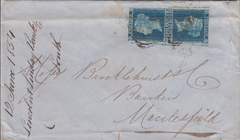 103200 - 1854 BANKER'S MAIL LOUTH TO MACCLESFIELD/2D BLUES (SG14).