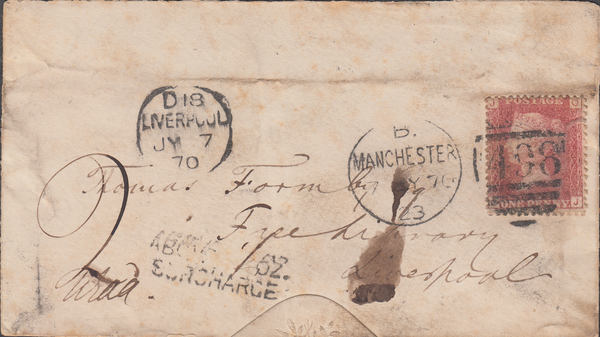 103214 - 1870 UNDERPAID MAIL MANCHESTER TO LIVERPOOL/PL.106 (SG43) (OJ).