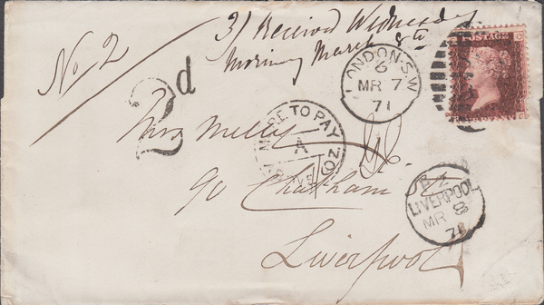 103215 - 1871 UNDERPAID MAIL LONDON TO LIVERPOOL/PL.135 (SG43) (OC).