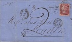 103223 - 1868 UNDERPAID MAIL MANCHESTER TO LONDON.