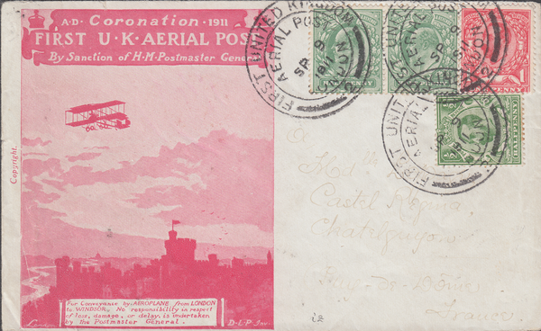 103268 - 1911 FIRST OFFICIAL U.K. AERIAL POST/LONDON ENVELOPE IN SCARLET KGV AND KEDVII STAMPS TO FRANCE.
