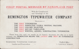 "103290 - 1911 FIRST OFFICIAL U.K. AERIAL POST/""REMINGTON"" ADVERTISEMENT - SHEFFIELD OFFICE."