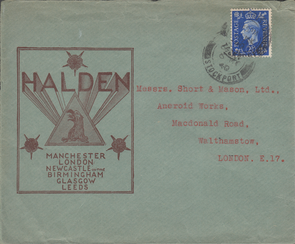 103382 - 1940 ADVERTISING/MAIL STOCKPORT TO LONDON.