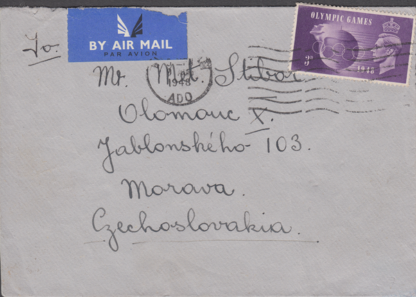 103410 - 1948 MAIL TO CZECHOSLOVAKIA/OLYMPIC GAMES.