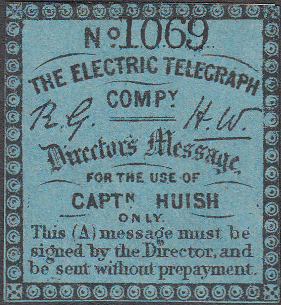 103442 - 1859 ELECTRIC TELEGRAPH COMPANY CAPTAIN HUISH STAMP.