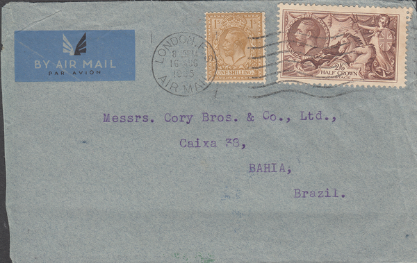 103557 - 1935 2/6D SEAHORSE (SG450) ON COVER LONDON TO BRAZIL. Envelope