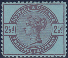 103648 - 1883-4 LILAC AND GREEN ISSUE COLOUR TRIAL USING 2½D VALUE WITHOUT CORNER LETTERS.
