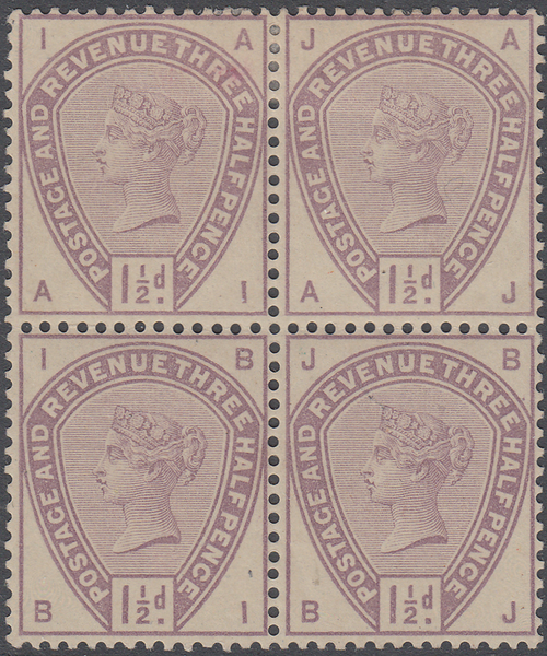 103650 - 1883-4 1½D LILAC AND GREEN COLOUR TRIAL.