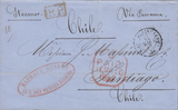 103652 - 1857 PAID STAMPLESS MAIL PARIS TO CHILE VIA LONDON.