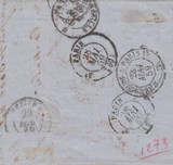 103658 - 1859 MAIL JERSEY TO FRANCE/4D CARMINE (SG66)/SHORT STAMP.