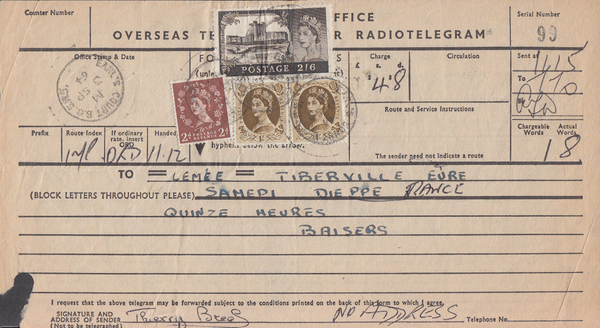103695 - 1964 TELEGRAM/2/6 CASTLE.