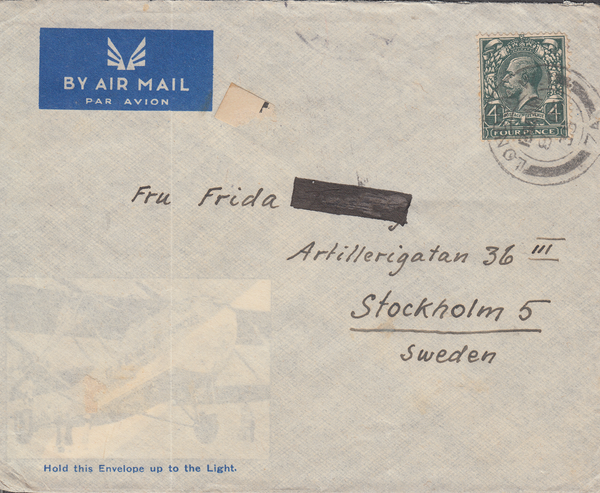 103719 - 1935 MAIL LONDON TO STOCKHOLM.