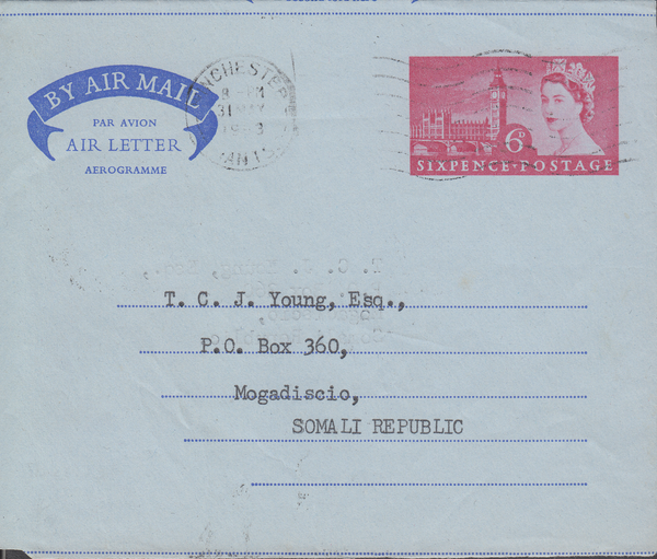 103727 - 1963 6D AIR LETTER WINCHESTER TO SOMALI REPUBLIC.
