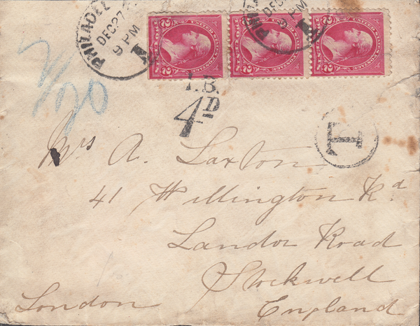 "103782 - UK ""I.B./4D"" INLAND BRANCH CHARGE MARK ON CIRCA 1900 UNDERPAID MAIL USA TO LONDON."