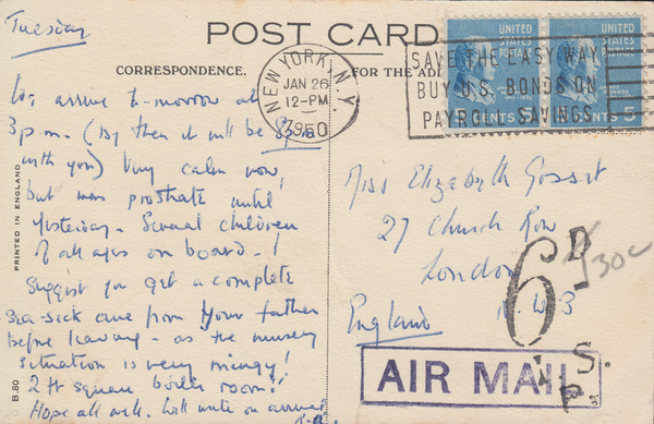 "103790 - UK ""6D"" INLAND SECTION CHARGE MARK ON 1950 UNDERPAID MAIL NEW YORK TO LONDON."