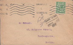 103829 - 1925 UNDERPAID MAIL LEWISHAM TO DUBLIN.