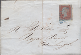 "103863 - 1852 ""438"" IRISH NUMERAL OF TULLAMOOR IN BLUE ON COVER (SPEC B1xa CAT. £750)."