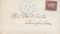 "103868 - ""725"" NUMERAL OF SOUTH PETHERTON IN BLUE ON COVER (SPEC B1xb CAT. £750)."