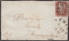 "103876 - 1846 ""LADIES"" MOURNING ENVELOPE RUGBY TO NEWARK."