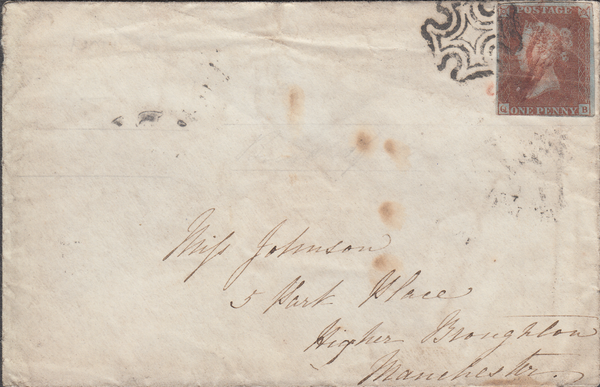 103880 - 1841 ENVELOPE 1D (SG8) CANCELLED BLACK M.C. AND RED MANUSCRIPT CANCELLATION.