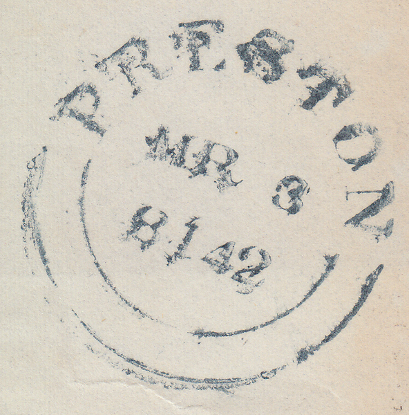 103886 - BLUE MALTESE CROSS OF PRESTON ON COVER (SPEC B1sc CAT. £1700).