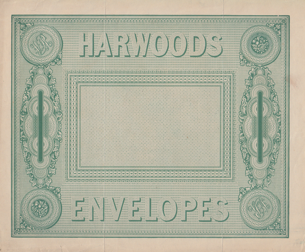 "103915 - 1839 TREASURY COMPETITION, ""HARWOODS ENVELOPES"" DESIGN IN GREEN BY CHARLES WHITING (FIGURE 18 SPEC CAT)."