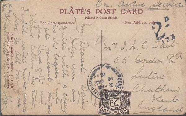 103926 - 1918 UNDERPAID MAIL CEYLON TO CHATHAM INCORRECTLY SENT FREE OF CHARGE.