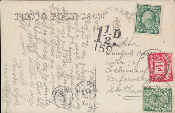 103932 - 1921 UNDERPAID MAIL USA TO LOCHWINNOCH, SCOTLAND/KGV ½D POSTAGE STAMP (SG315) USED AS A POSTAGE DUE.